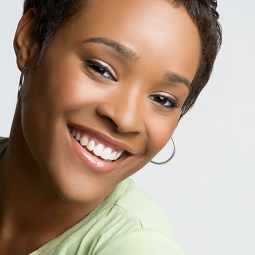 Clean white teeth on smiling woman
